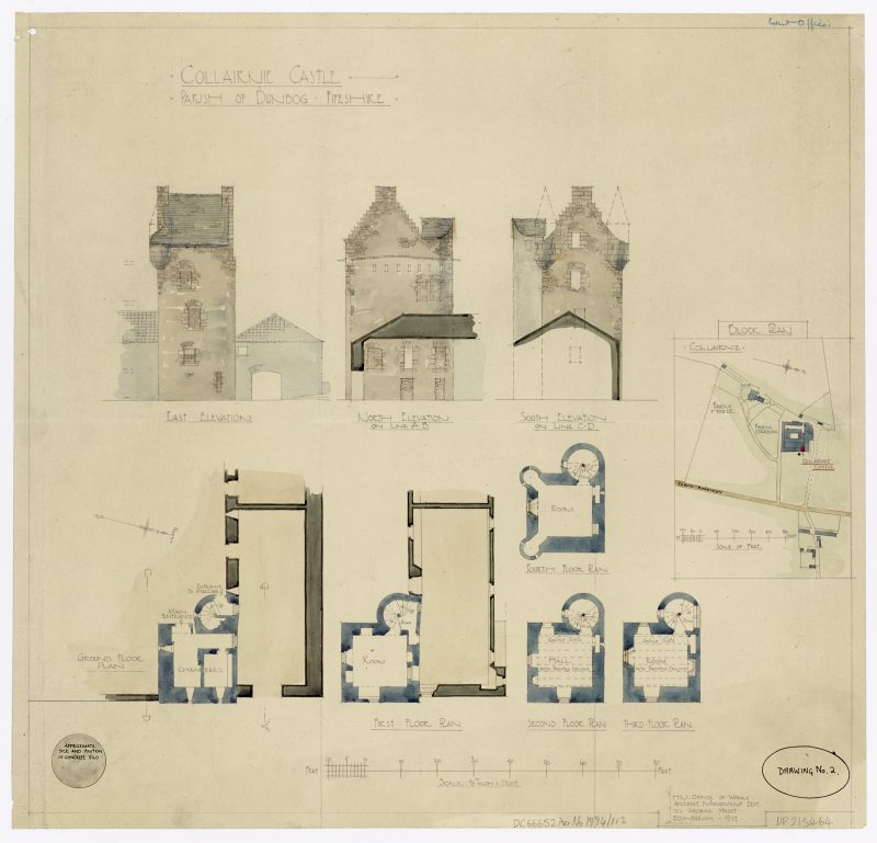 Shaded plans and elevations of Collairnie Castle, Parish of Dunbog, Fife