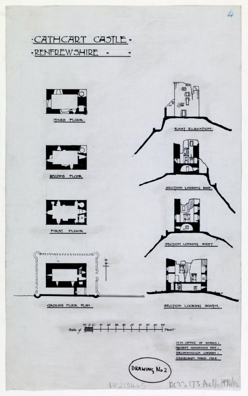 Floor plans and sections, Cathcart Castle