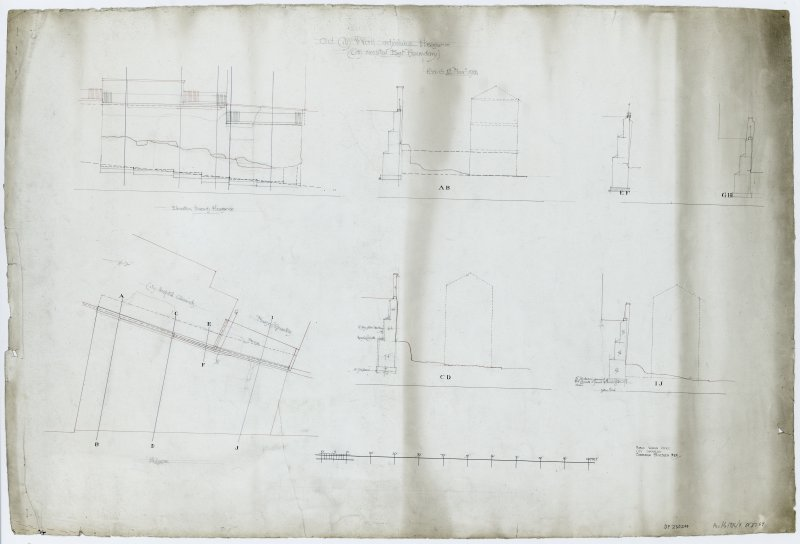 Drawing of the Flodden Wall at the Pleasance beside the City Hospital showing a block plan, elevation towards Pleasance, cross-sections A-B, C-D, E-F, G-H, I-J. Insc. 'Old City Wall adjoining Pleasance (City Hospital East Boundary). P.W.O. 4th Novr. 1901. Public Works Office City Chambers Edinburgh 4th November 1901.'