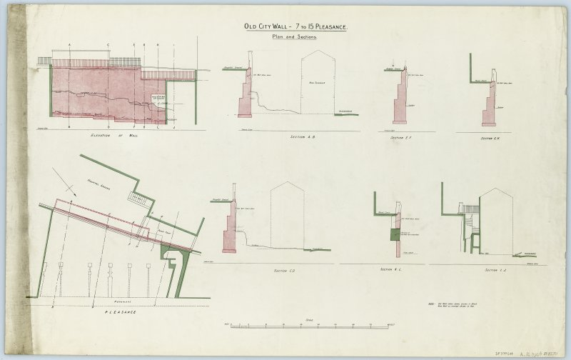 Drawing of the Flodden Wall at the Pleasance beside the City Hospital showing a block plan, elevation of wall, cross-sections A-B, C-D, E-F, G-H, I-J, K-L. Insc. 'Old City Wall - 7 to 15 Pleasance. Plan and Sections.'
