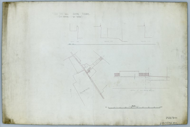 Drawing of the Flodden Wall at the Pleasance beside the City Hospital showing a block plan, elevation of wall towards Pleasance, cross-sections A-B, C-D, E-F. Insc. 'Old City Wall adjoining Pleasance. (City Hospital East Boundary) Public Works Office - City Chambers, Edinburgh. 4th November, 1901.'