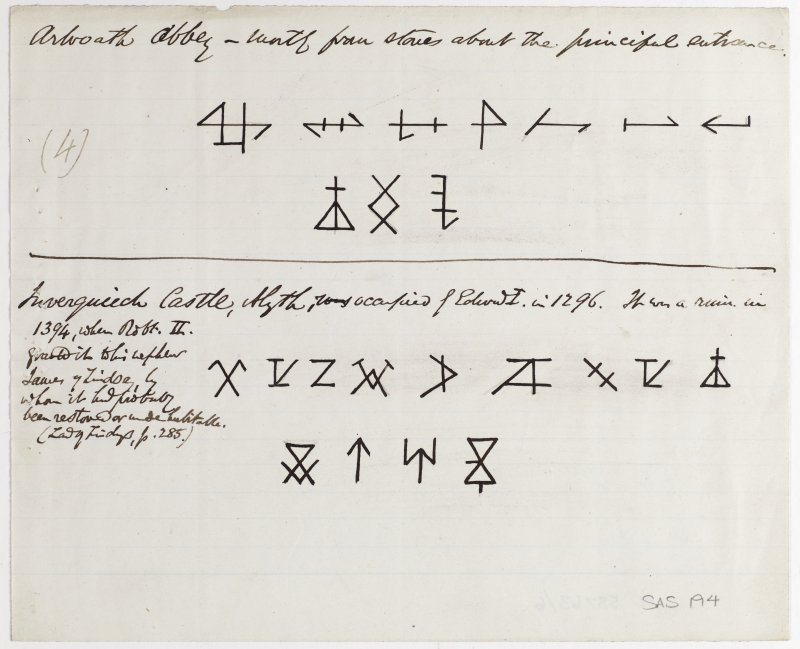 Drawing showing masons' marks from Arbroath Abbey and Inverquiech Castle.
