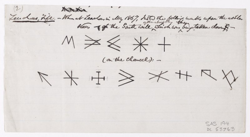 Drawing showing masons' marks from the church at Leuchars.