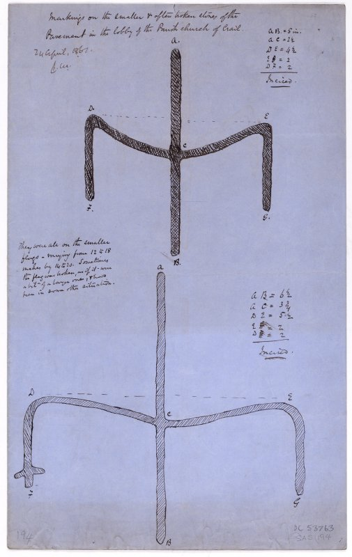 Drawing showing masons' marks from the parish church of Crail.