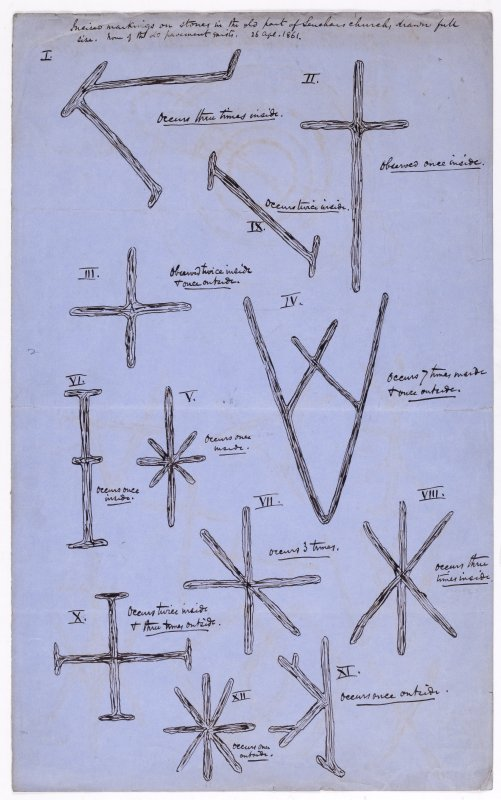 Drawing showing masons' marks from Leuchars Church.