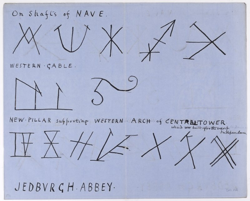 Drawing showing masons' marks from Jedburgh Abbey.