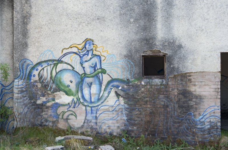 View of graffiti art on laundry block, taken from the north.