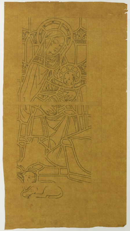 Tracing design for Madonna and Child stained glass window