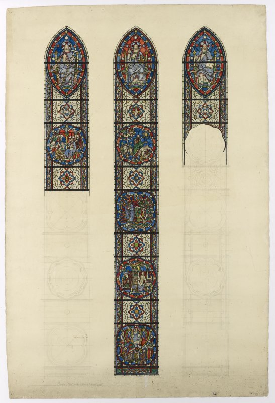Cartoon showing partly coloured stained glass design
