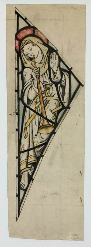 Stained glass cartoon of musical angel for St John's Kirk, Perth