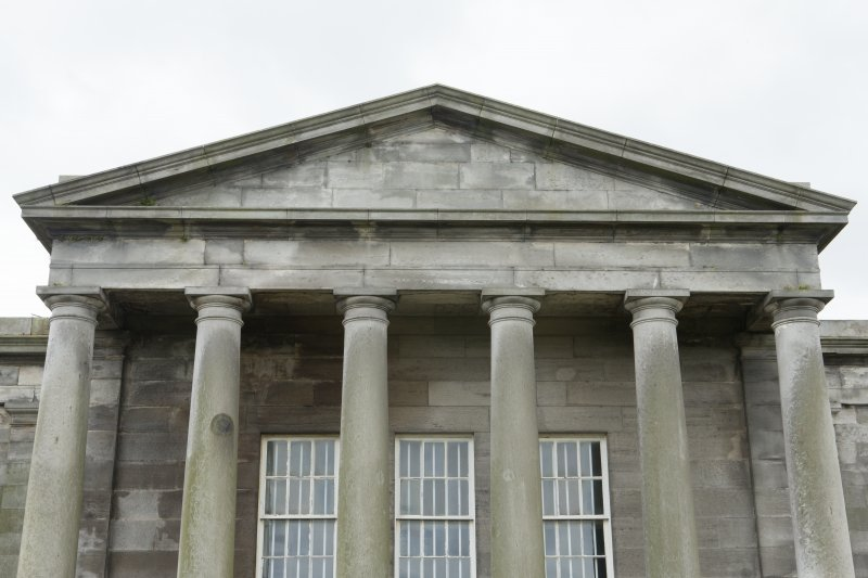 South elevation. View of pediment.