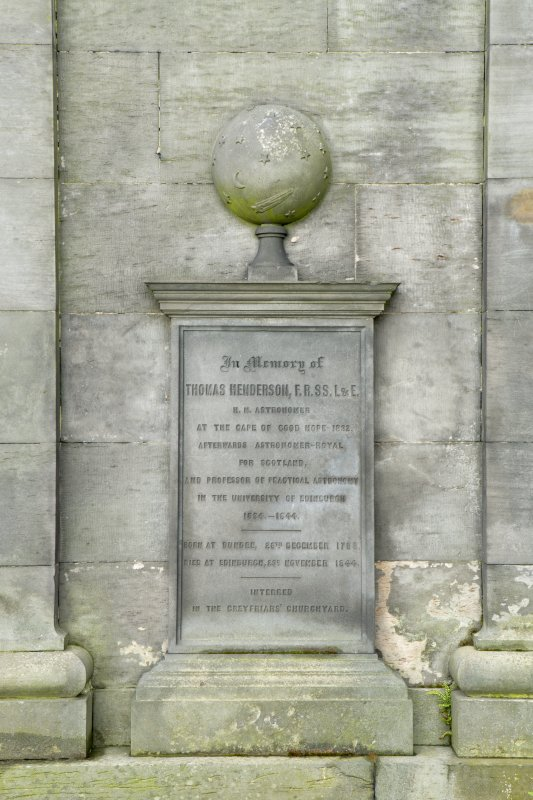 South elevation. Detail of memorial plaque.