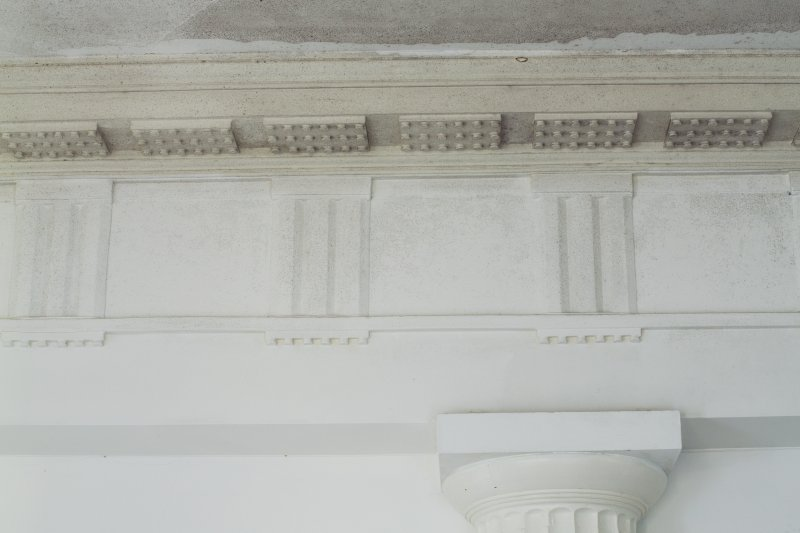 Ground floor. Central room. Detail of cornice.