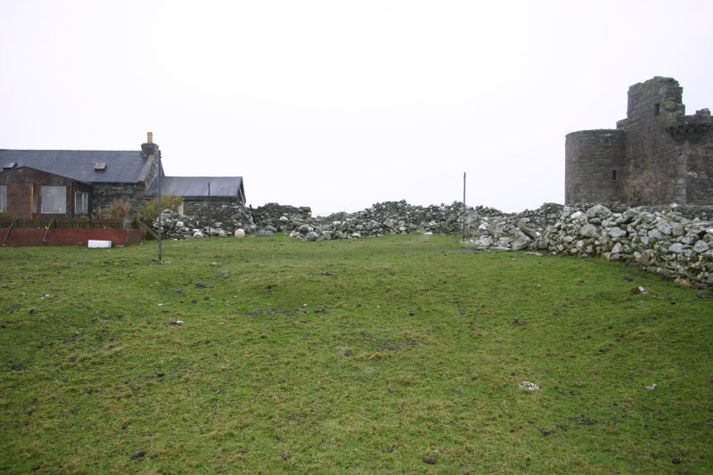 Part of the garden earthworks between Muness Castle and Castle Cottage, viewed from the SW