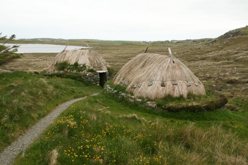 General view of thatched mill buildings;  Horizontal Click Mill, South Shawbost, Lewis.