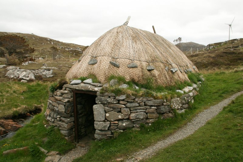View of  thatched mill building and doorway; Horizontal Click Mill, South Shawbost, Lewis.