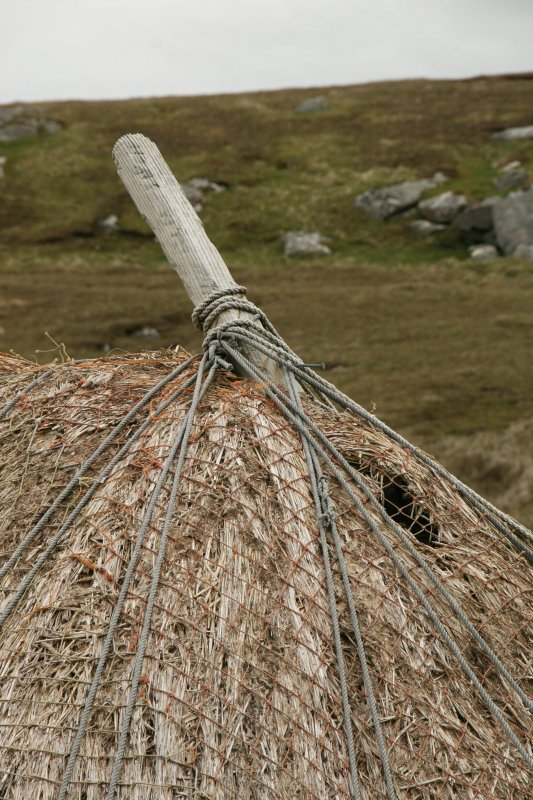 Detail of netted and tied thatch at ridge;  Horizontal Click Mill, South Shawbost, Lewis.