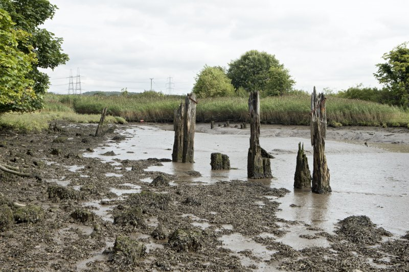Remains of timber wharf or quay posts, view from south west. The timber quayside deck onto which cargo and materials to be shipped in and out would have been stored is now gone.