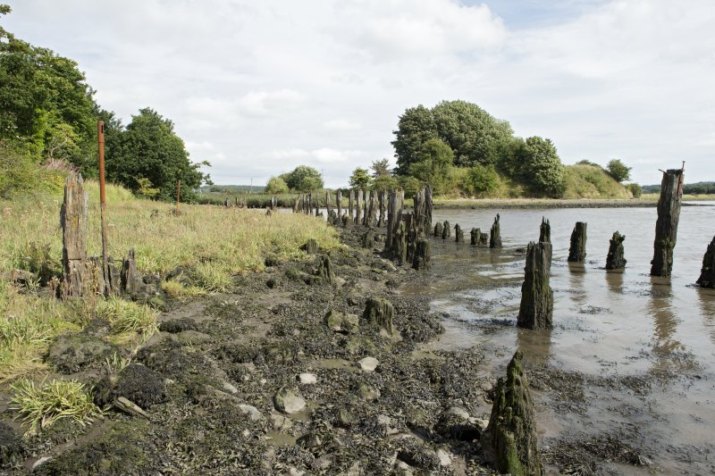 Remains of timber wharf or quay posts and posts with slotted heads (part of an enine?), view from south