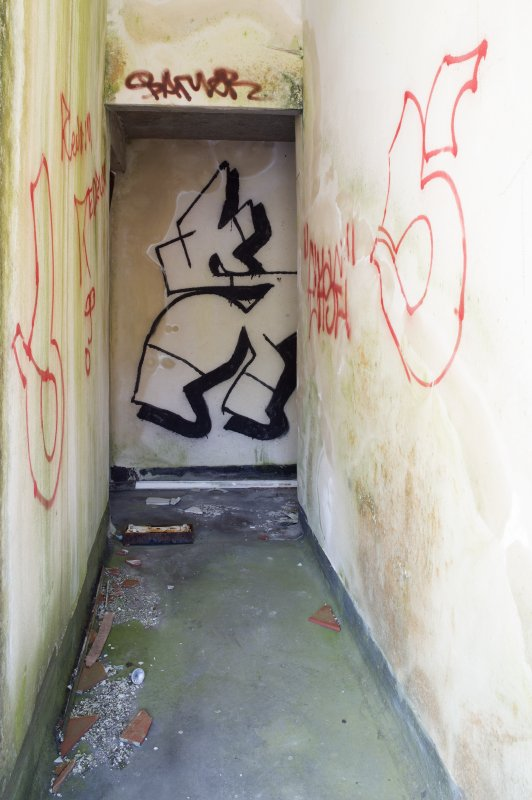 Central block. First floor. Detail of graffiti art.