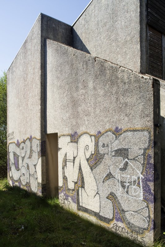 Accommodation block. View of graffiti art from south east.