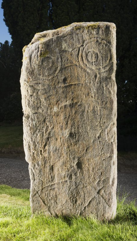 View of pictish symbol stone.