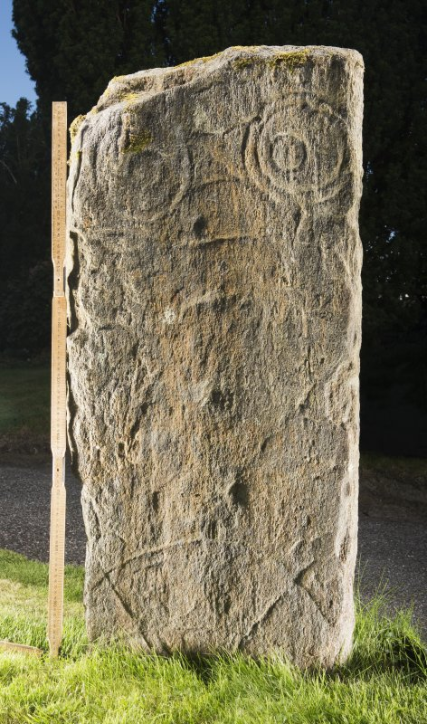 View of pictish carved stone (with scale).
