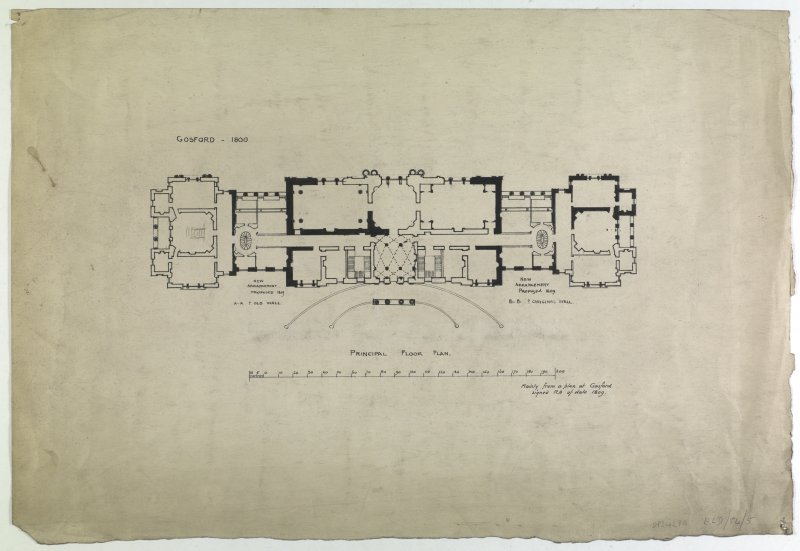 Drawing showing proposal for principal floor plan, 1800.