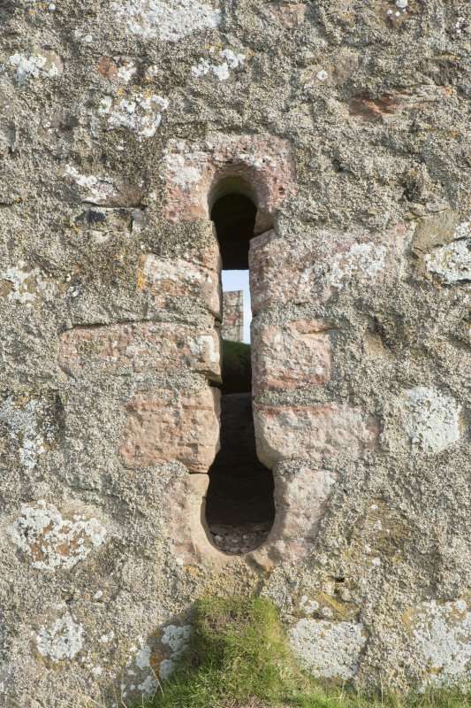 Detail of gun loop on west wall.