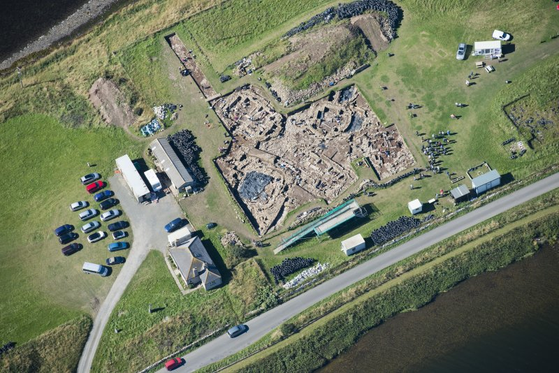 Oblique aerial view of excavation at Ness of Brodgar.