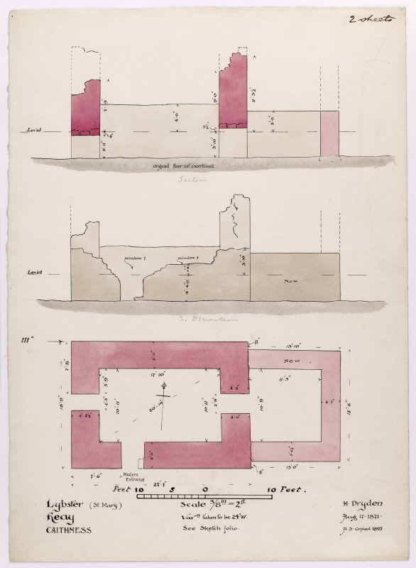 Drawing showing section, elevation and plan of St Mary's Chapel, Crosskirk.