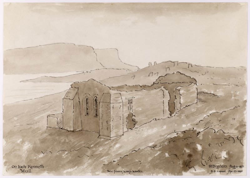 Drawing showing perspective view of St Kenneth's Chapel, Mull.