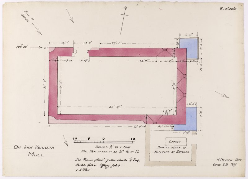 Drawing showing plan of Saint Kenneth's chapel, Inch Kenneth, Mull.