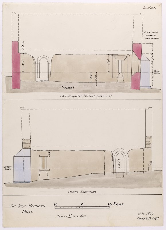 Drawing showing section and north elevation of Saint Kenneth's chapel, Inch Kenneth, Mull.