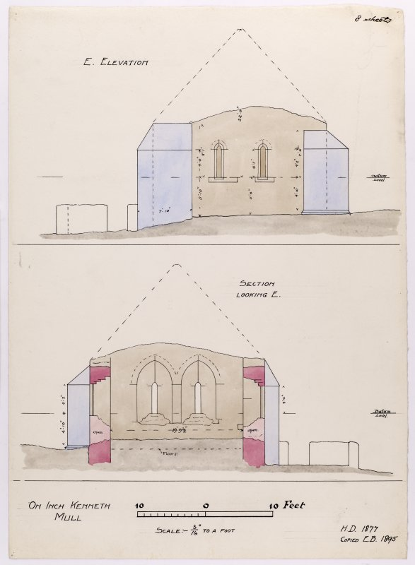 Drawing showing east elevation and section of Saint Kenneth's chapel, Inch Kenneth, Mull.