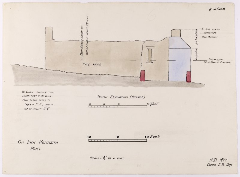Drawing showing south elevation of Saint Kenneth's chapel, Inch Kenneth, Mull.