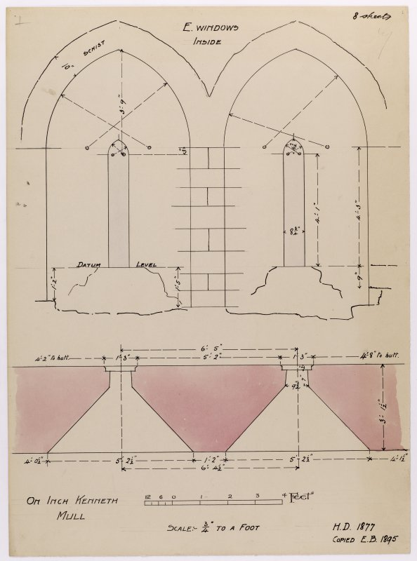Drawing showing east windows in Saint Kenneth's chapel, Inch Kenneth, Mull.