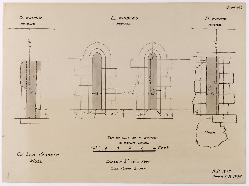 Drawing showing external window elevations in Saint Kenneth's chapel, Inch Kenneth, Mull.