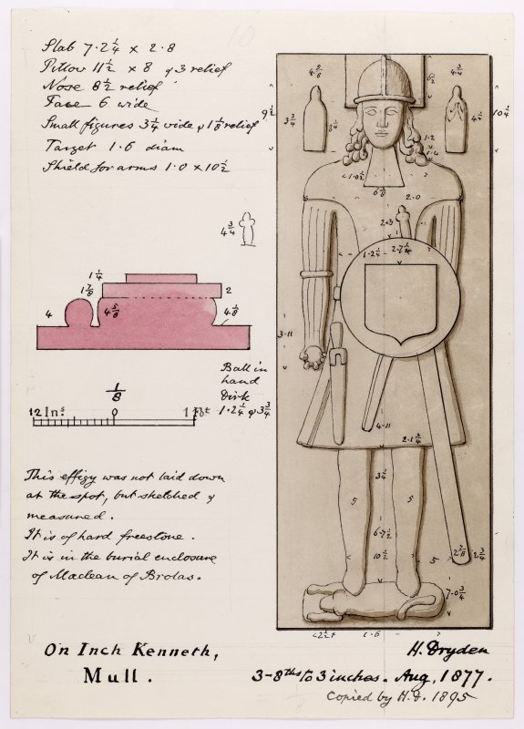 Drawing showing effigy at Saint Kenneth's chapel, Inch Kenneth, Mull.