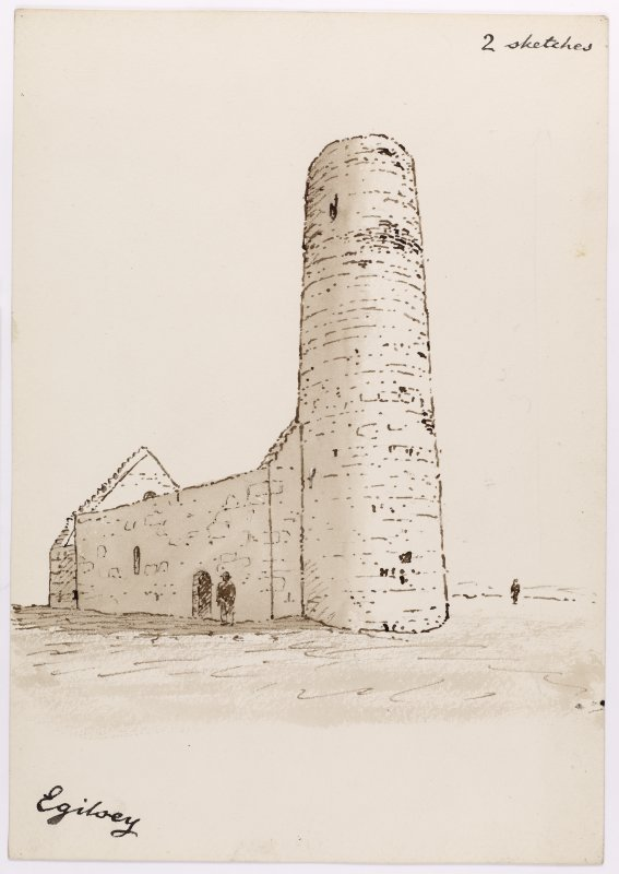 Drawing showing perspective view of St Magnus's Church, Egilsay.