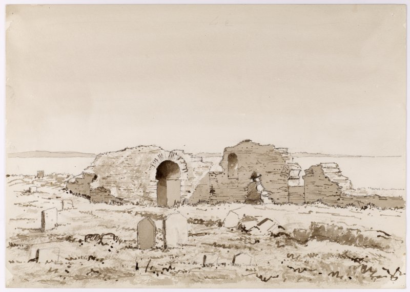 Drawing showing perspective view of Cross Kirk, Westray.