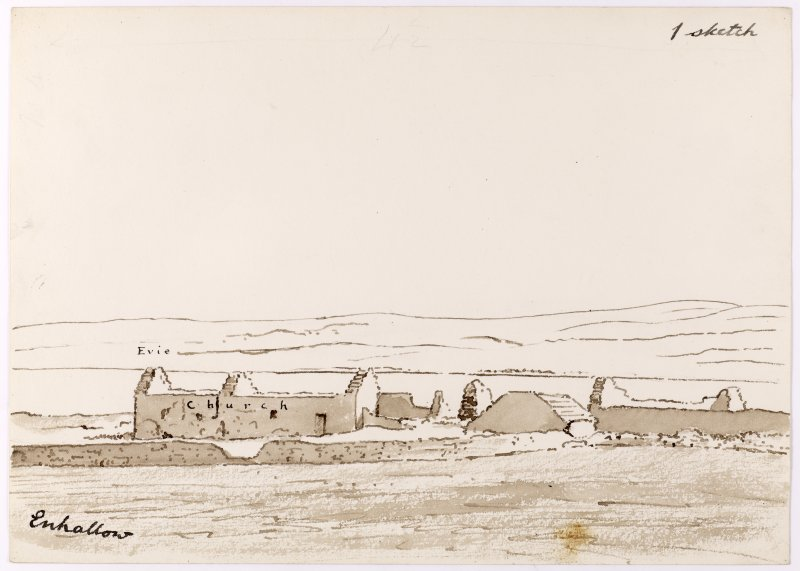 Drawing showing perspective view of Eynhallow monastery.