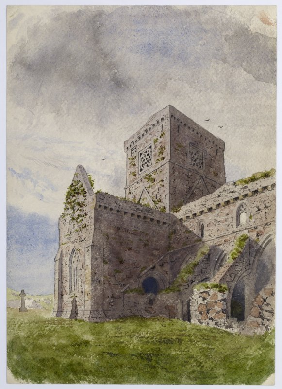 Drawing showing south transept of Iona Abbey church from E.