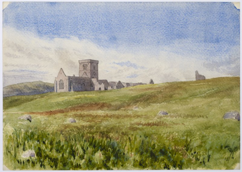 Drawing showing Iona Abbey and Tigh an Easbuig from NE.