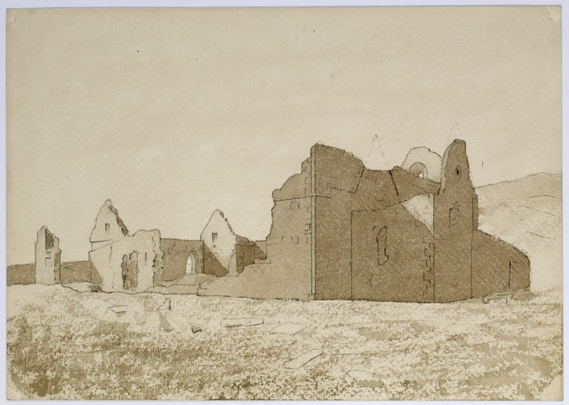 Drawing showing Iona Nunnery from NE.