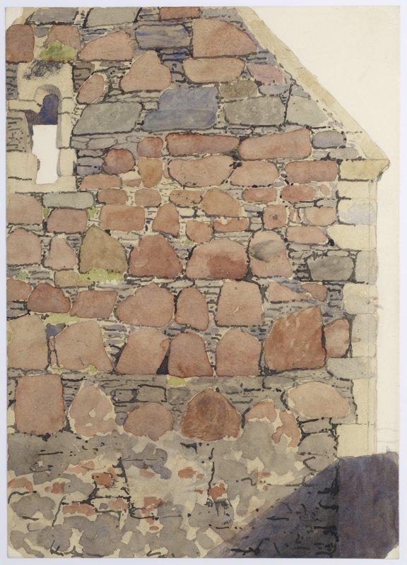Drawing showing detail of SW exterior corner of refectory, Iona Nunnery.