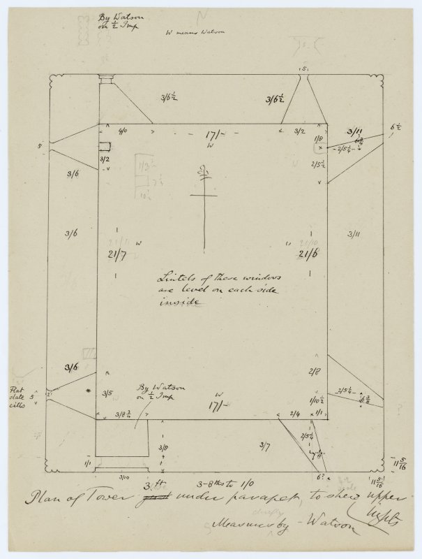 Sketch showing plan of the tower of Iona Abbey church to show the upper lights.