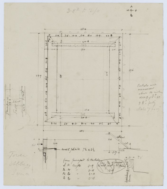 Rough sketch showing plan of the top of the tower of Iona Abbey church.