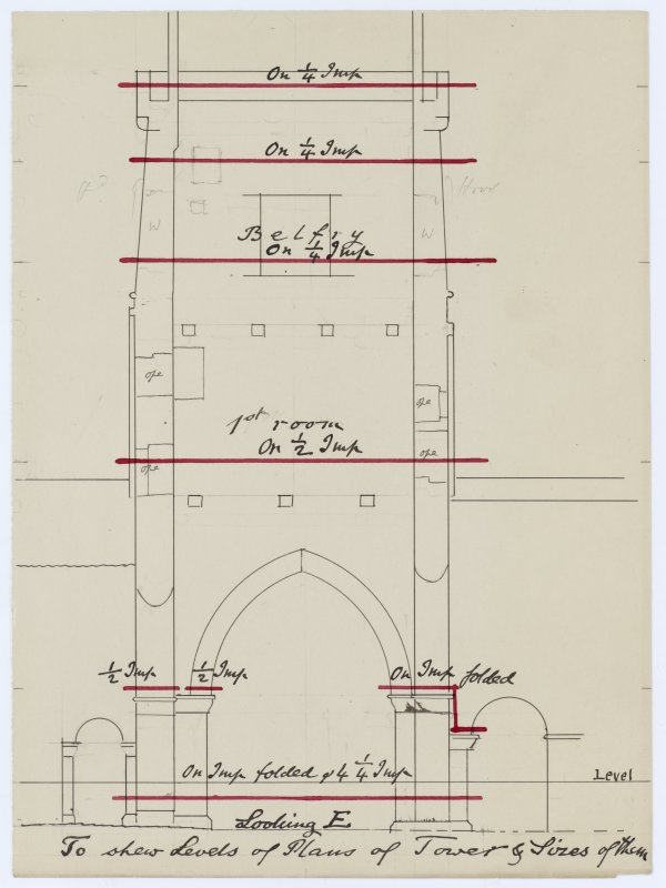 Drawing showing elevations of the tower of Iona Abbey church, and the levels at which plans were made.