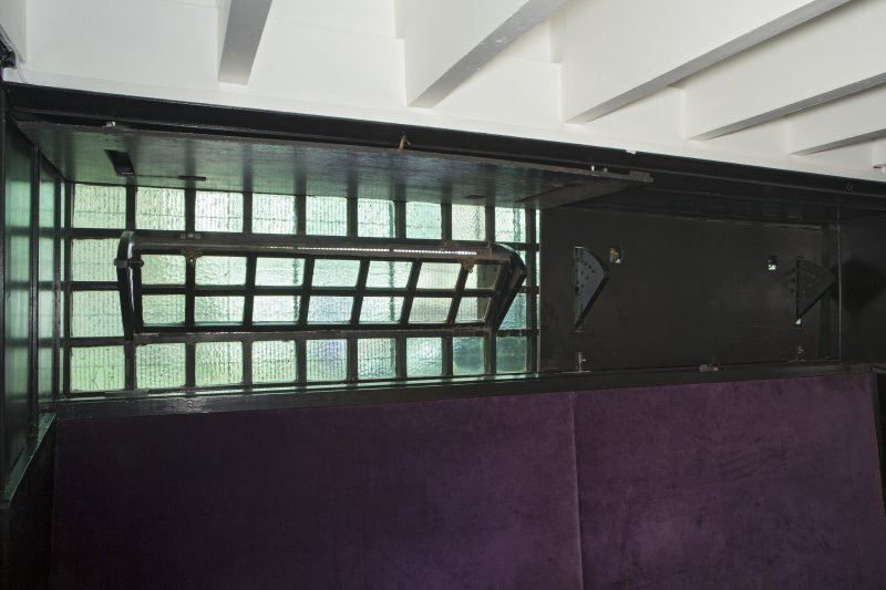 Ground floor, rear saloon, detail of windows (shutters half closed)